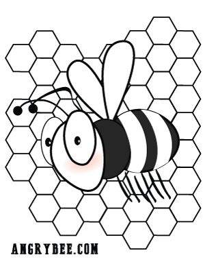 Angry Bee Coloring Page 1